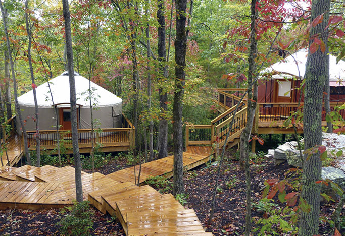 Yurt Village with nice wood deck patch