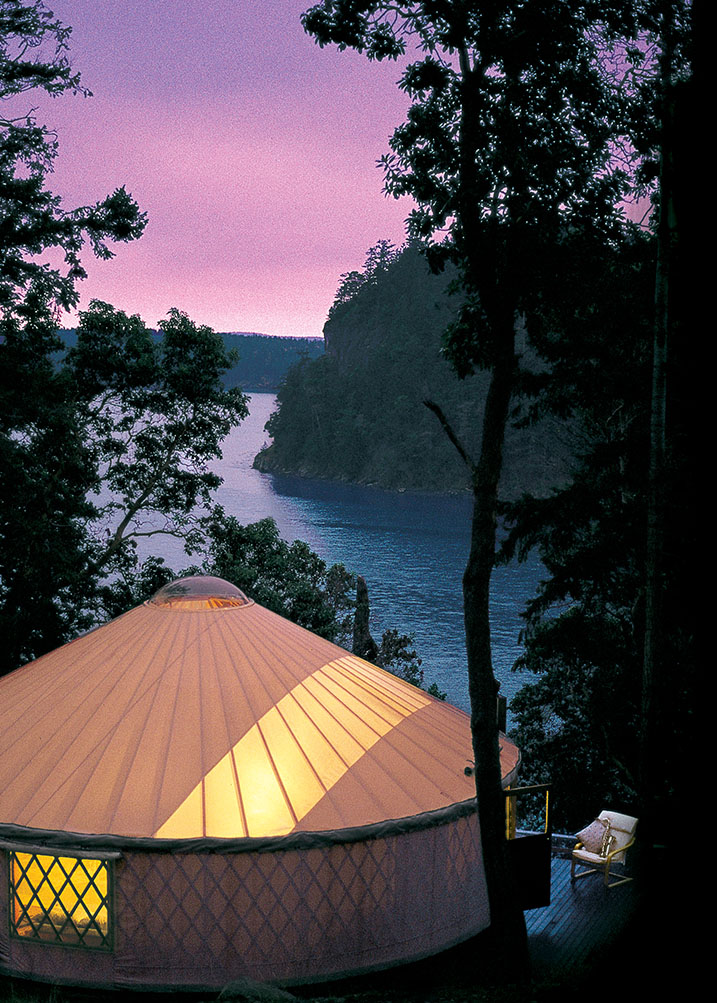 Pacific Yurt At Dusk by a lake