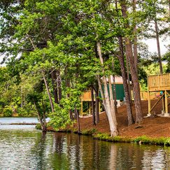 Green yurts with decks sit along side a calm lake surrounded by lush trees.